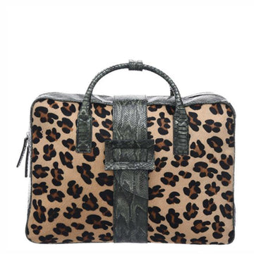 Leopard Print Hair On Hide Leather Weekend Travel Bag