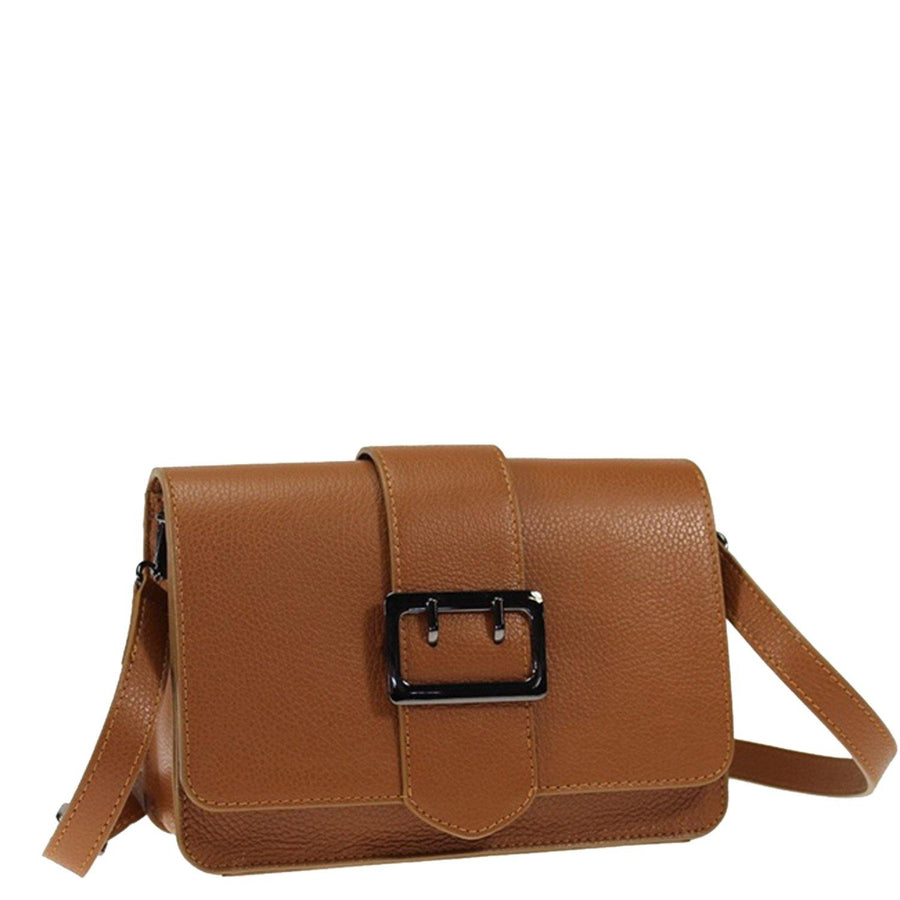 Buckle Front Leather Bag Camel Brix + Bailey
