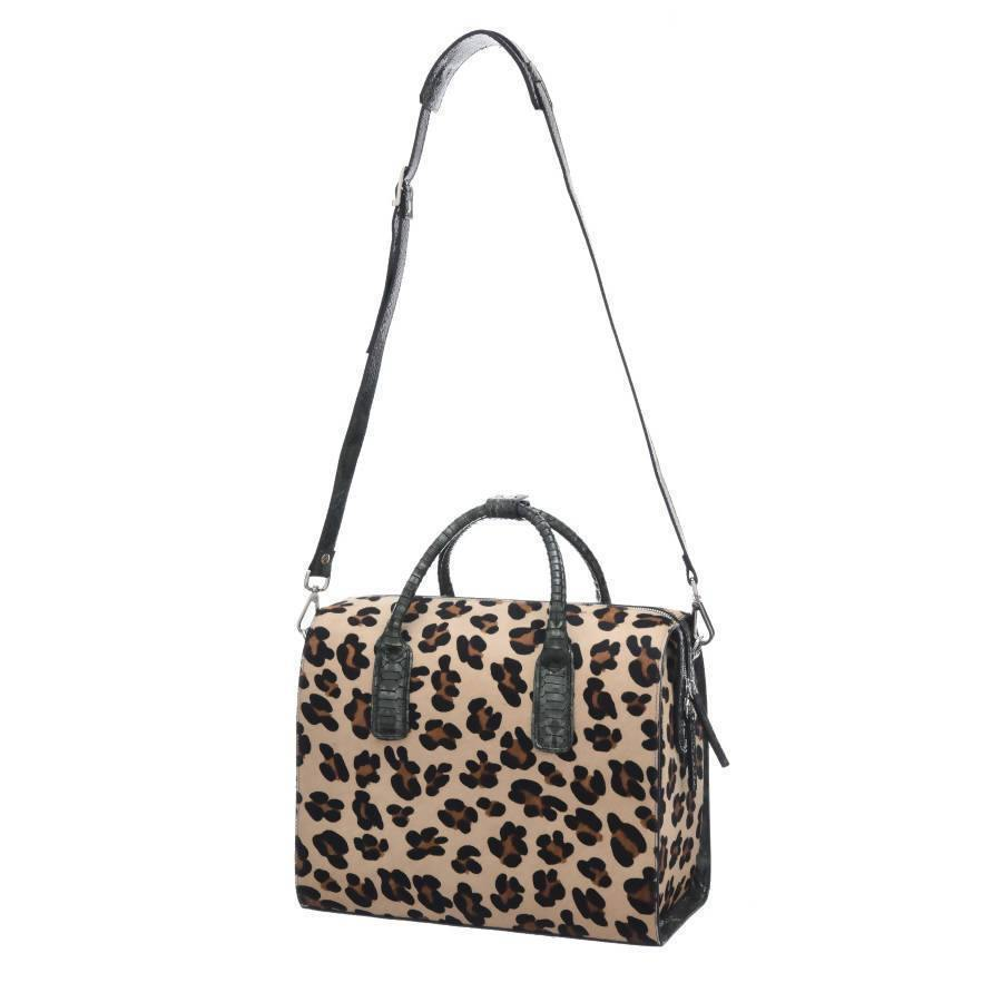 Doctors Style Leopard Print Leather Top Handle Bag - Brix and Bailey® - Contemporary Bag, Watch and Accessory Brand