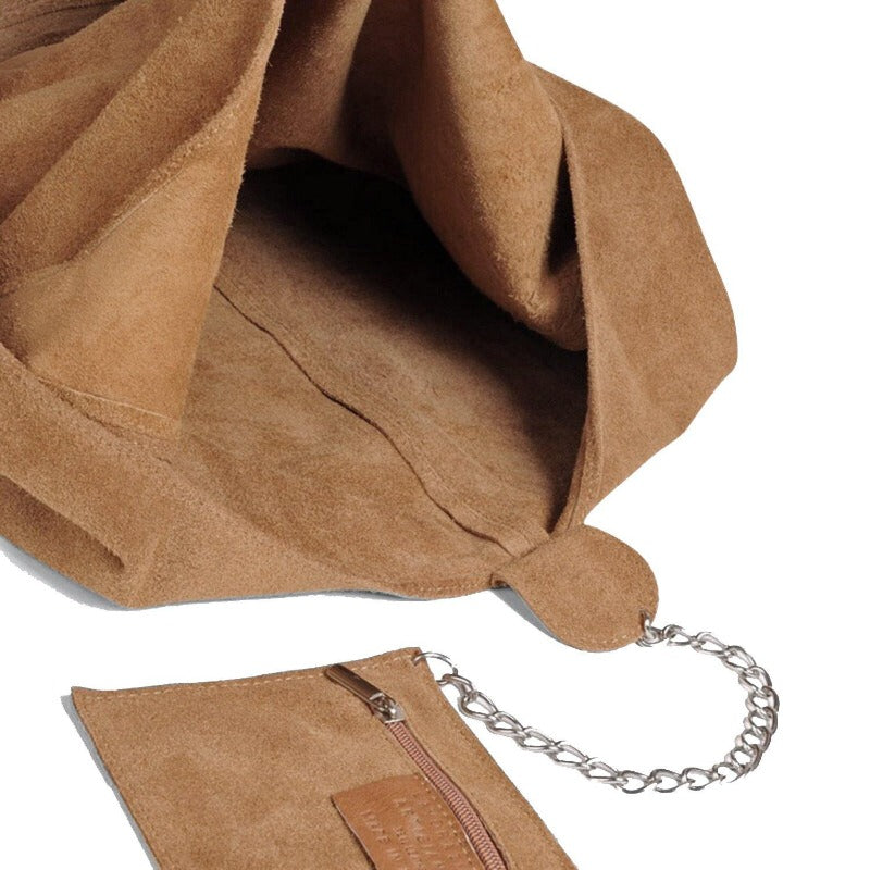 Camel Soft Suede Hobo Shoulder Bag