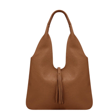 Camel Tassel Leather Hobo Bag - Brix and Bailey® - Contemporary Bag, Watch and Accessory Brand