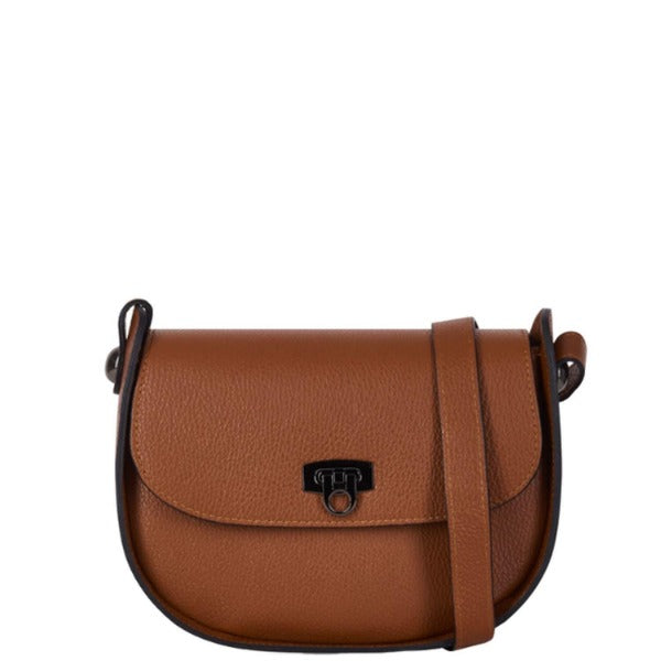 Dark Tan Leather Turn Lock Saddle Bag - Brix and Bailey® - Contemporary Bag, Watch and Accessory Brand