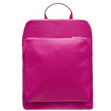 Cerise Soft Pebbled Leather Pocket Backpack