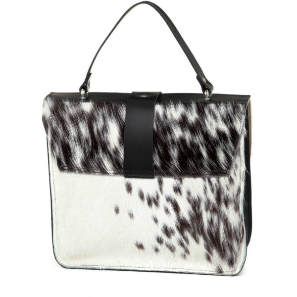 Ivory Hair On Hide Leather Satchel - Brix and Bailey® - Contemporary Bag, Watch and Accessory Brand