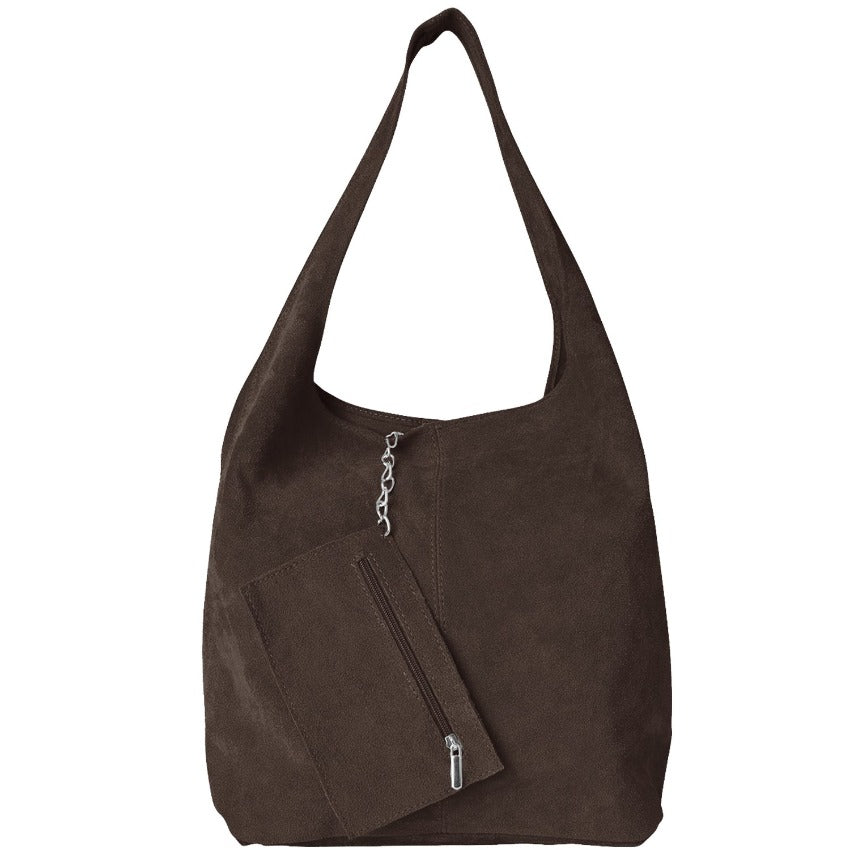 Chestnut Soft Suede Hobo Shoulder Bag - Brix and Bailey® - Contemporary Bag, Watch and Accessory Brand