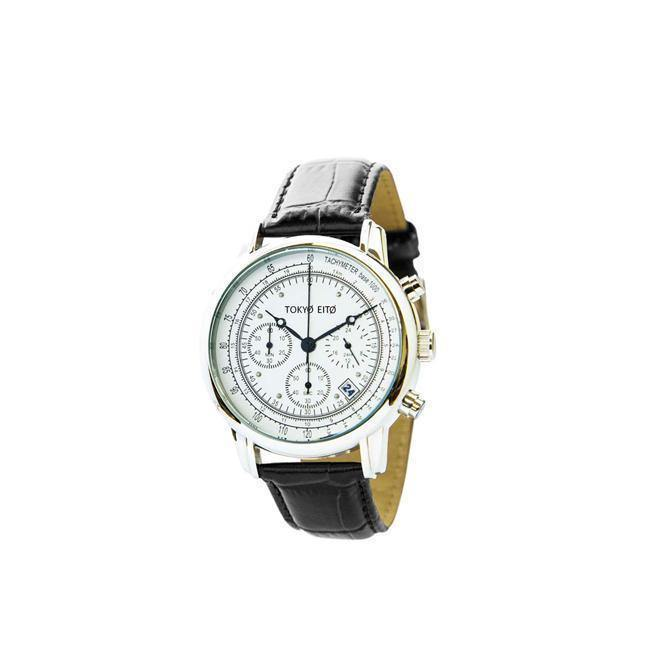 Triple Chronograph Classic Stainless Steel + Leather Wrist Watch