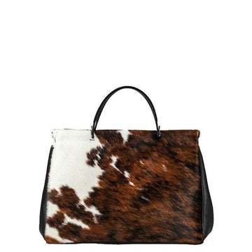 Cow Print Hair On Hide Leather Shoulder Bag - Brix and Bailey® - Contemporary Bag and Accessory Brand