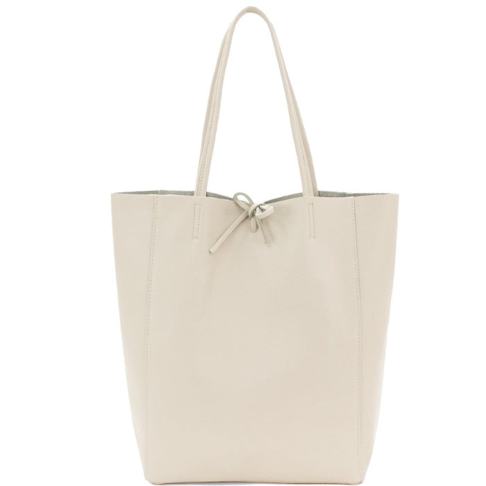 Ivory Pebbled Leather Tote Shopper Bag - Brix and Bailey® - Contemporary Bag and Accessory Brand