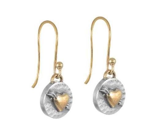 Silver and Gold Heart Drop Earrings - Brix and Bailey® - Contemporary Bag, Watch and Accessory Brand