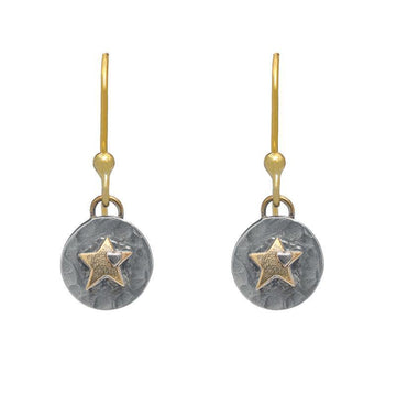 Silver and Gold Star Drop Earrings - Sostter