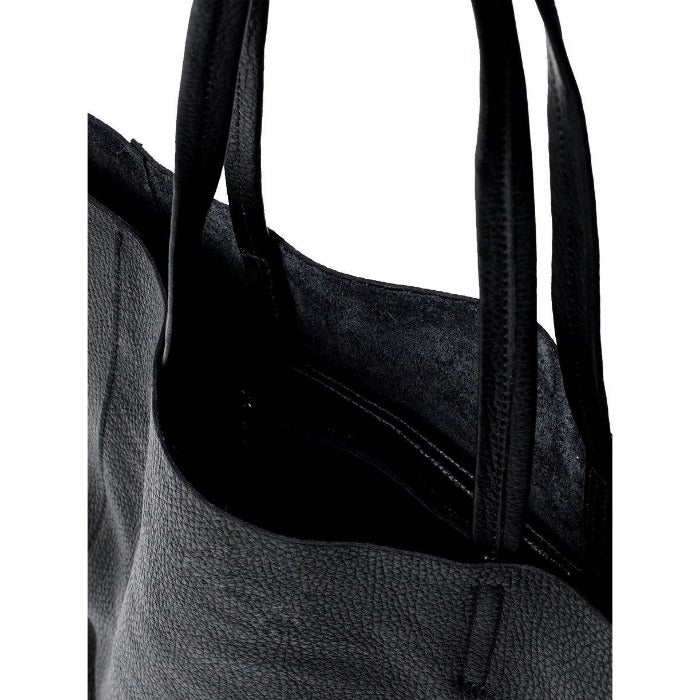 Black Everyday Soft Pebbled Leather Tote - Brix and Bailey® - Contemporary Bag, Watch and Accessory Brand