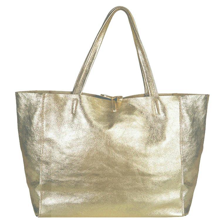 Gold Metallic Horizontal Leather Tote Shopper - Brix and Bailey® - Contemporary Bag and Accessory Brand