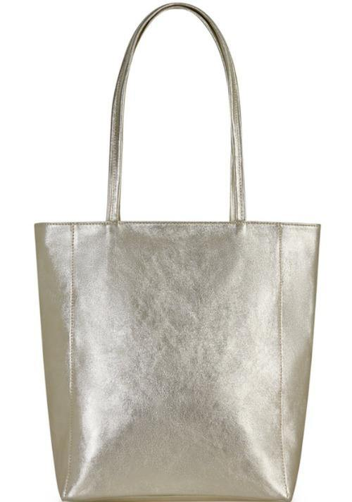 Gold Zip Top Leather Tote Shopper Bag - Sostter