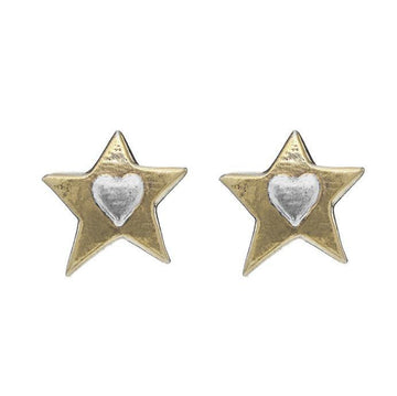 Gold Star Heart Stud Earrings - Brix and Bailey® - Contemporary Bag and Accessory Brand