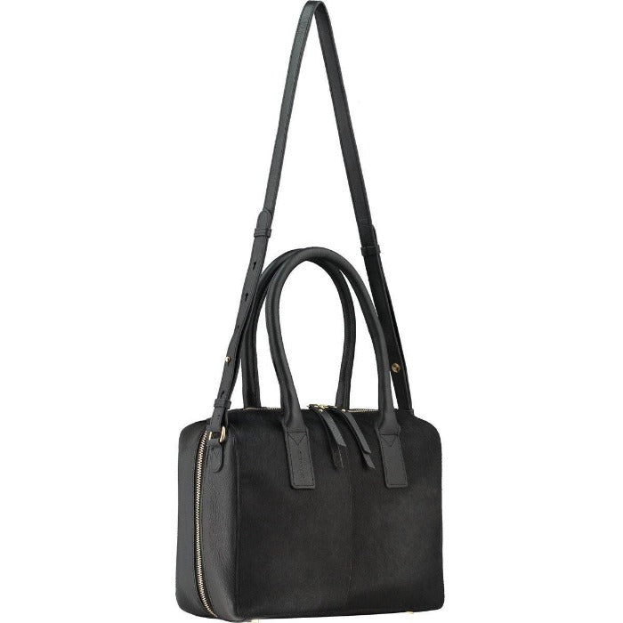 Brix and Bailey Black Hair On Hide Leather Cross-Body Grab Bag