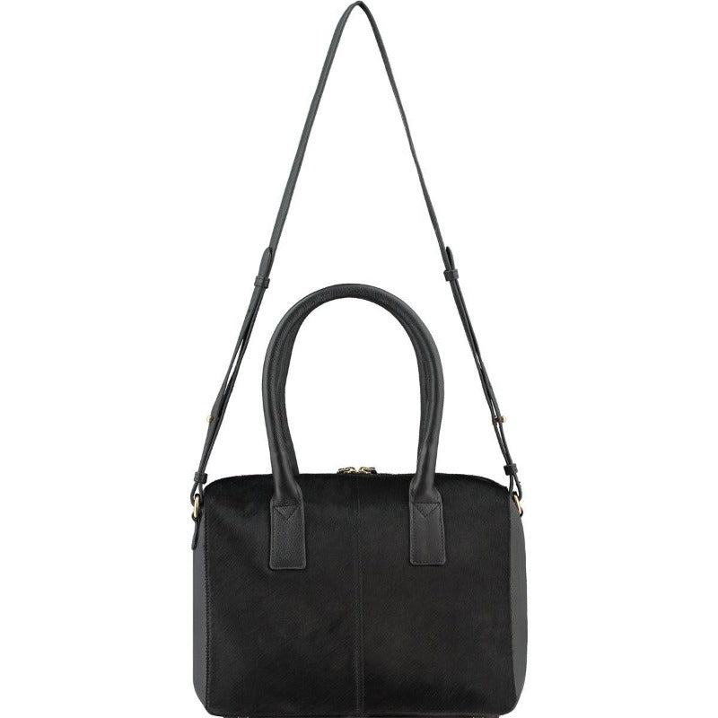 Black Hair On Hide Leather Cross-Body Grab Bag