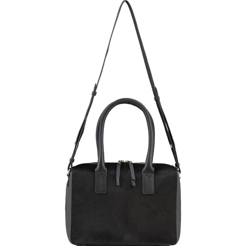 Black Hair On Hide Leather Cross-Body Grab Bag Brix + Bailey