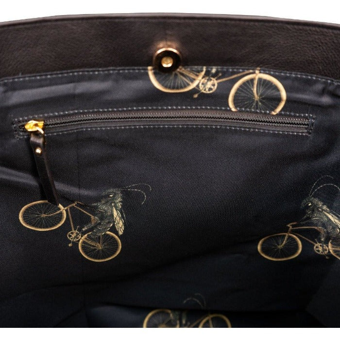 Black Hair On Hide Leather Day Tote