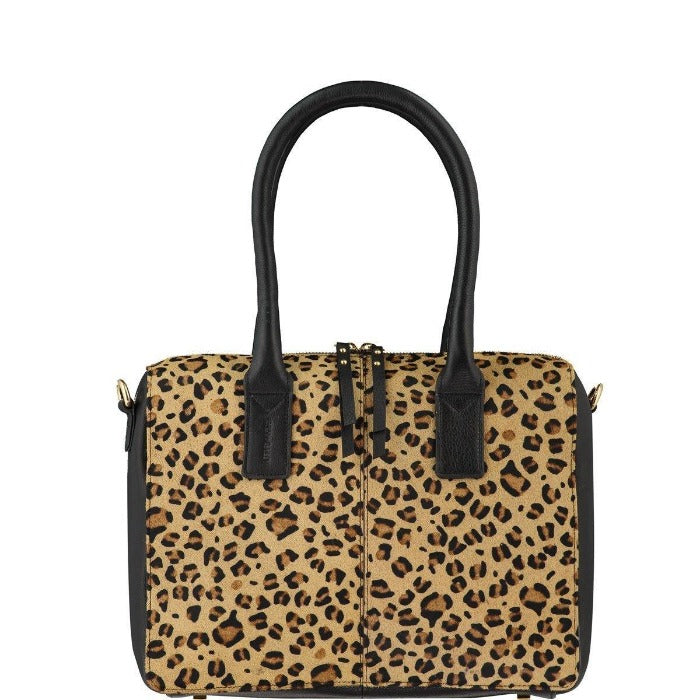 Leopard Hair On Hide Leather Cross-Body Grab Bag Brix + Bailey