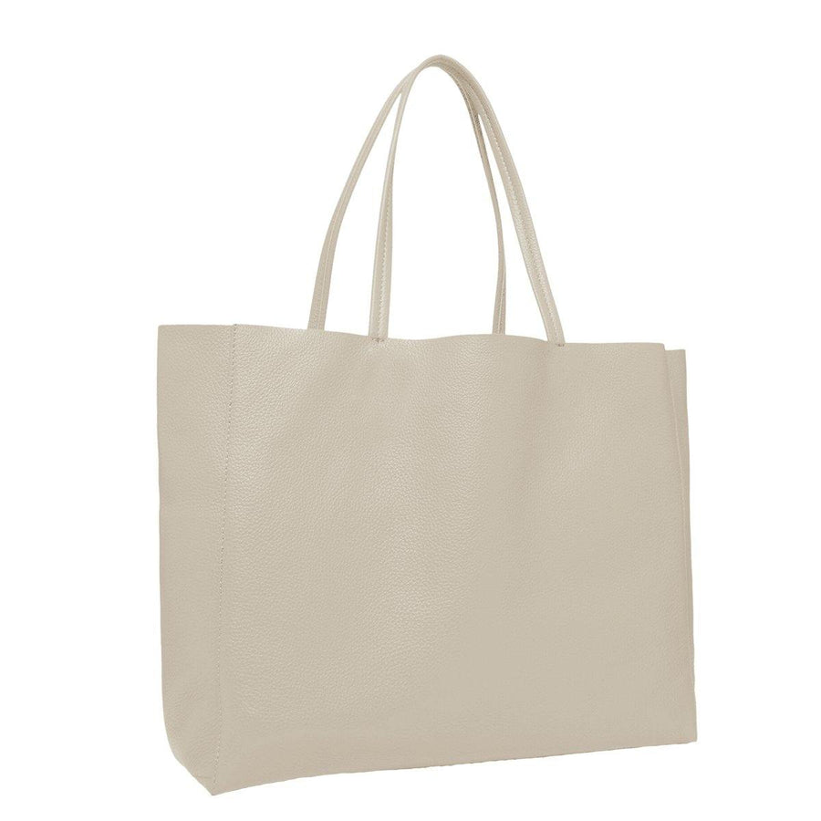 Everyday Soft Pebbled Leather Tote Bag Ivory