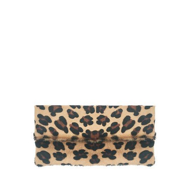 Leopard Foldover Clutch Bag Hair on Hide Leather Brix Bailey