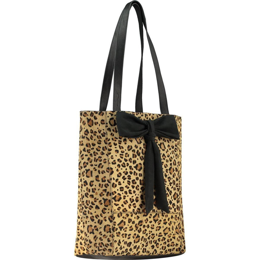 Leopard Print Hair On Hide Bow Leather Tote - Brix and Bailey® - Contemporary Bag, Watch and Accessory Brand