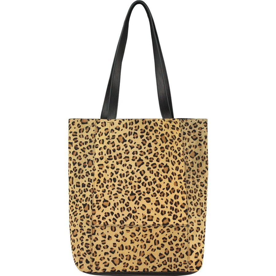 Bow Hair On Hide Leather Tote Leopard