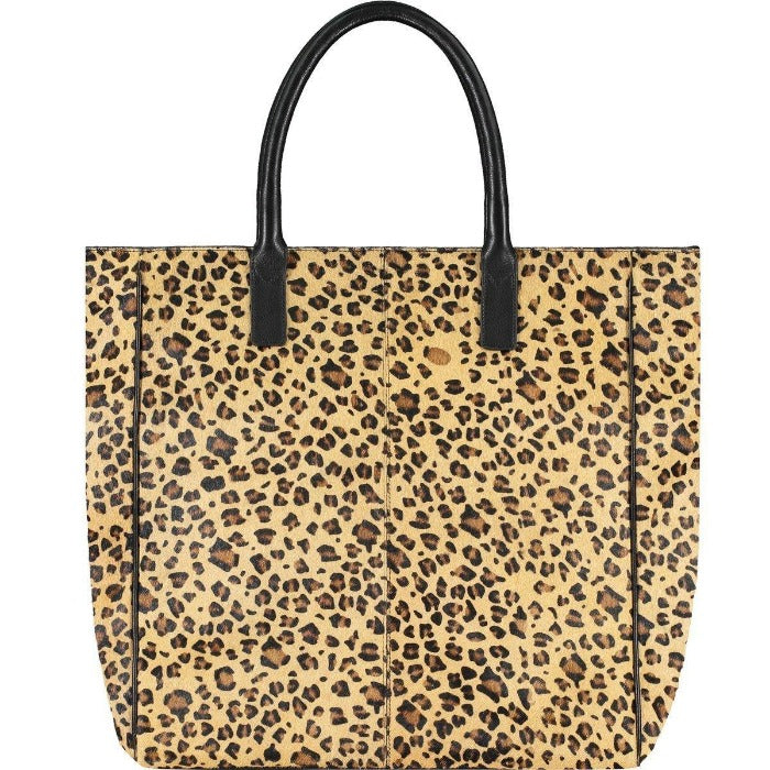 Leopard Print Hair On Hide Leather Day Tote