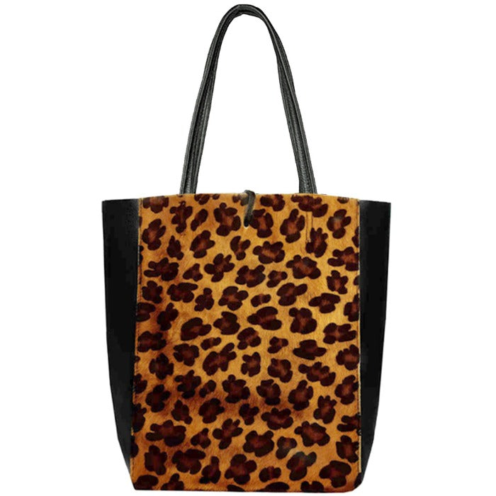 Leopard Print Hair On Leather Tote Shopper Bag Sostter