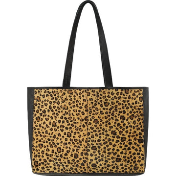 Leopard Print Hair On Hide Horizontal Tote - Brix and Bailey® - Contemporary Bag, Watch and Accessory Brand