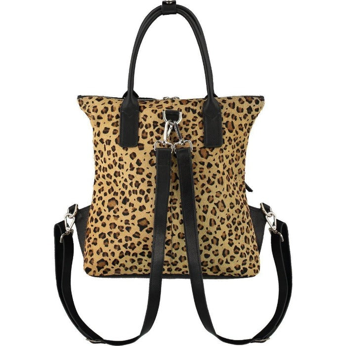 Leopard Print Hair On Hide  Rucsac Bag Brix and Bailey