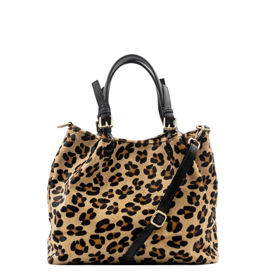 Leopard Print Leather Hobo Shoulder Bag