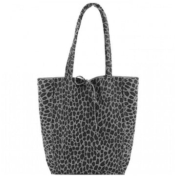 Grey Leopard Print Suede Leeather Tote Shopper - Brix and Bailey® - Contemporary Bag and Accessory Brand