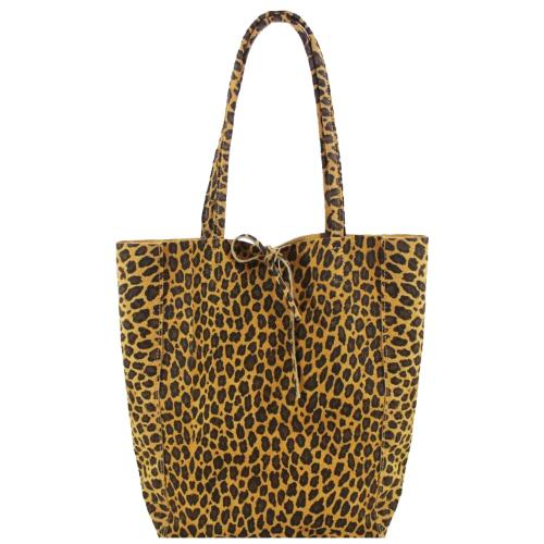 Leopard Print Suede Leather Tote Shopper Sostter