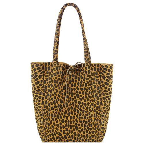 Leopard Print Suede Leather Tote Shopper