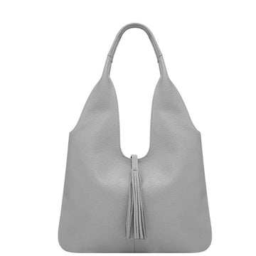 Light Grey Tassel Leather Hobo Bag - Brix and Bailey® - Contemporary Bag, Watch and Accessory Brand