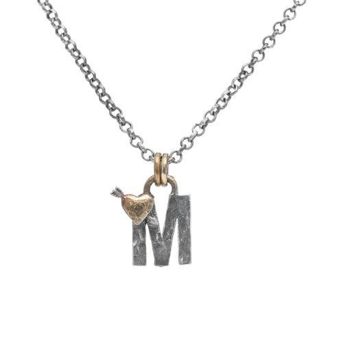 Letter M Initial Pendant Necklace