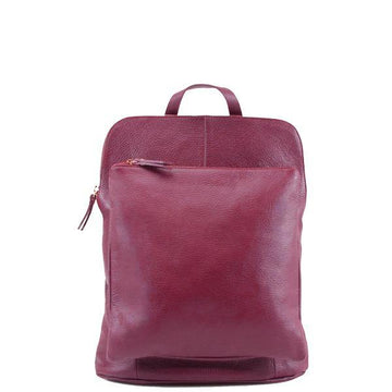 Maroon Soft Pebbled Leather Pocket Backpack - Brix and Bailey® - Contemporary Bag, Watch and Accessory Brand