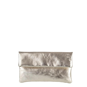 Metallic-Foldover-Clutch-Almond Gold Brix + Bailey