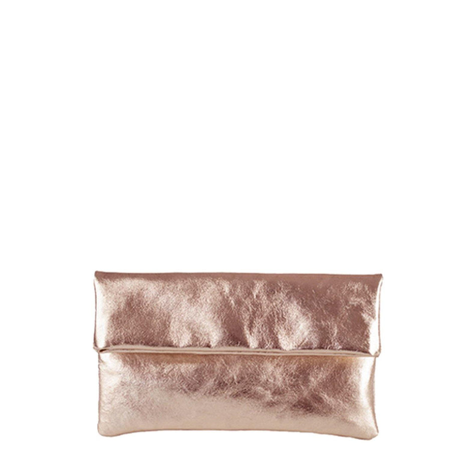 Foldover Evening Clutch Bag Copper Gold Brix + Bailey