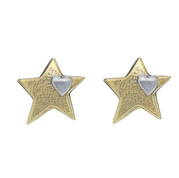 Gold Star Mini Heart Stud Earrings - Brix and Bailey® - Contemporary Bag and Accessory Brand