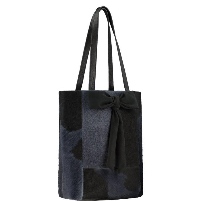 Navy Blue Bow Hair On Hide Leather Tote  Brix and Bailey