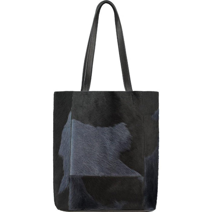 Brix and Bailey Navy Blue Bow Hair On Hide Leather Tote