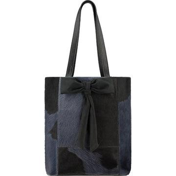 Navy Hair On Hide Bow Leather Tote - Brix and Bailey® - Contemporary Bag, Watch and Accessory Brand