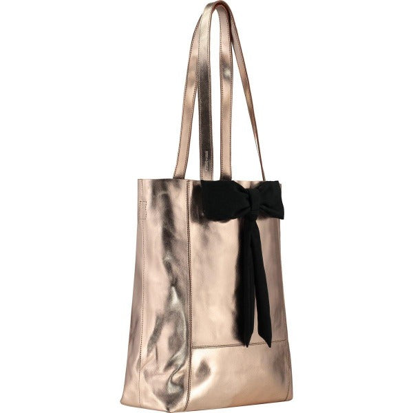 Rose Gold Bow Front Leather Tote - Brix and Bailey® - Contemporary Bag, Watch and Accessory Brand