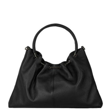 Black Rouched Leather Top Grab Bag - Sostter