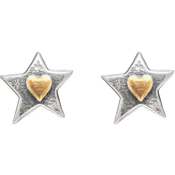 Silver Star Heart Stud Earrings