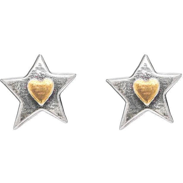 Silver Star Heart Stud Earrings - Brix and Bailey® - Contemporary Bag, Watch and Accessory Brand
