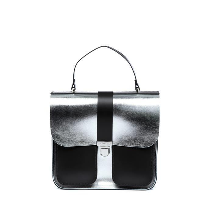 Silver Structured Leather Satchel - Brix and Bailey® - Contemporary Bag, Watch and Accessory Brand