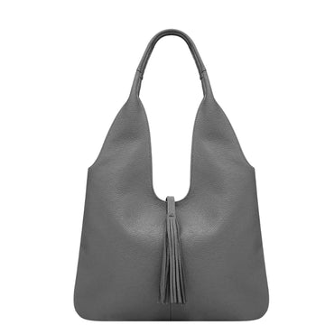 Slate Grey Tassel Leather Hobo Bag - Brix and Bailey® - Contemporary Bag, Watch and Accessory Brand